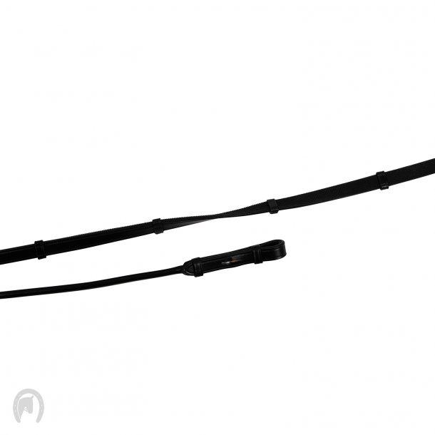 Montar Tøjler rund læder/gummi stoppers franske hager Sort