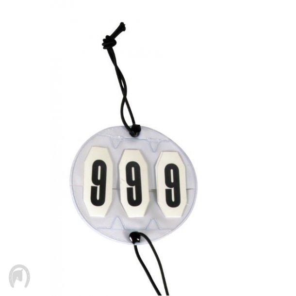 Horse Guard Stævnenummer 3 cifre m/elastik hvid